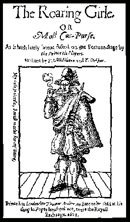 Mary Frith smoking on the title page of The Roaring Girl
